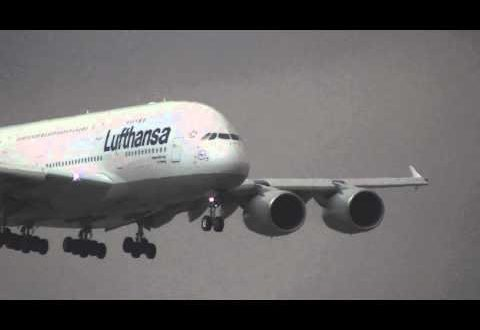 Airbus A380 Lufthansa Landing in Barcelona El Prat Airport for the first time 10